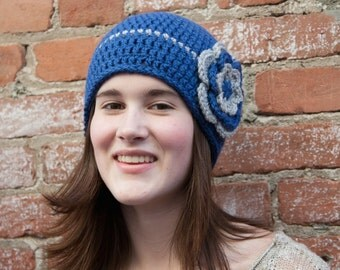 Crochet Flower Hat, Beanie for Girls, Gift for Teen, Ladies' Crochet Hat, Blue and Gray