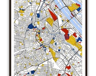 Vienna Map Art / Vienna, Austria Wall Art / Print / Poster / Modern Home Decor