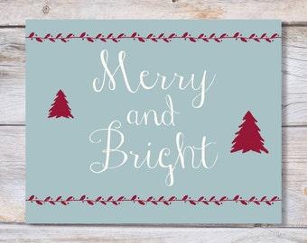Printable art Christmas art print MERRY and BRIGHT holiday digital print, art print, Printable Christmas, Holiday decor, Printable art