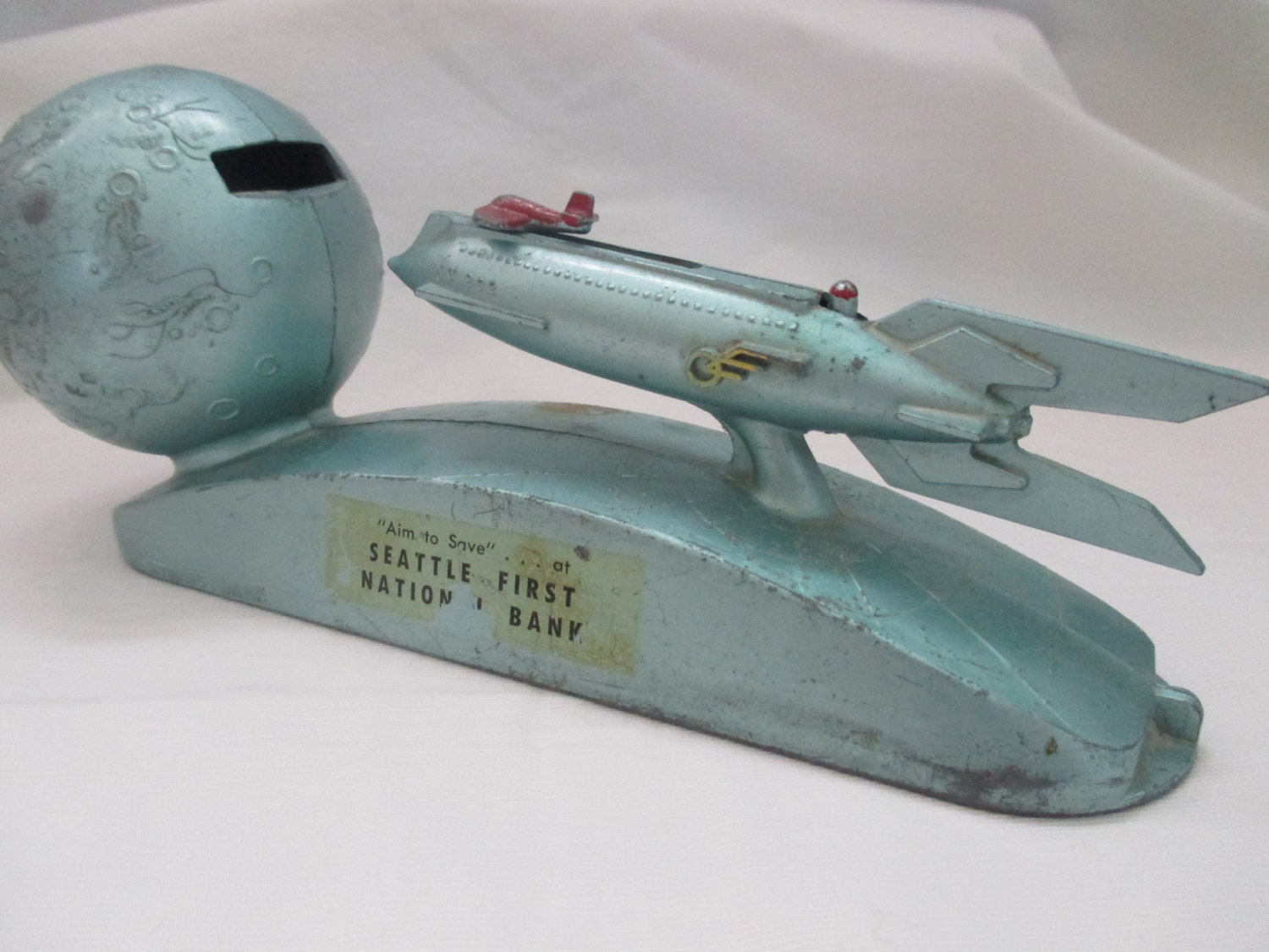 Vintage mechanical rocket bank duro mold strato bank by lindgeo - Rocket ship piggy bank ...