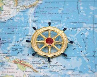 Vintage brooch. Accessories. Ship wheel. Helm boat. Vintage jewelry. Nautical. Ship wheel brooch.
