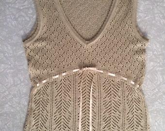 Vintage Women's Open Knit Pullover Sweater Vest / Top