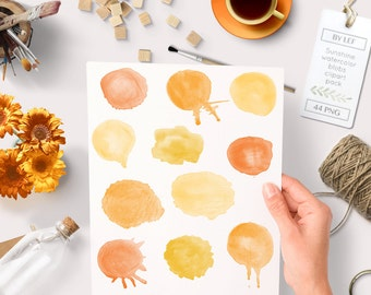 Watercolor clipart circles (44 pc) orange yellow saffron tangerine. hand painted for logo design, blogs making cards printables wall art etc