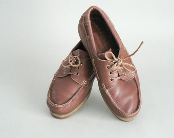 Mens Brown Leather Deck Shoes Size 8.5