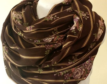 One of a Kind Brown and Gold Floral Scarf