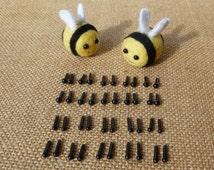20 pairs of 4mm/ 3mm, or mixed black toy animal dolls eyes  - kawaii - needle felting - merino roving - wool - mini - miniature - amigurumi