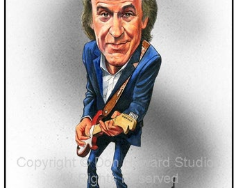 Don Howard's Depiction of Ray Davies Celebrity Caricature Art Print