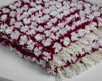 Items Similar To Baby Blanket Pom Poms Hand Knit Pink