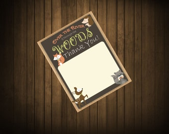 Woodland Creature Theme, Thank you card