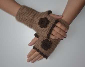Alpaca Crochet Light Brown Fingerless Gloves with Dark Brown Flower, 100% Pure Alpaca Yarn, Mittens, Women Accessories