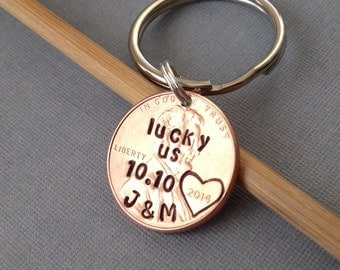 Lucky Us Personalized Hand Stamped Penny, Custom One Year Anniversary Penny Keychain Gift for Him, Gift for Her, Initials, Valentines Day
