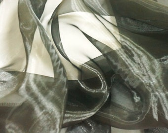 "Black organza fabric for shiny bridal dress, decoration, crafts etc. 60"" wide by the yard"
