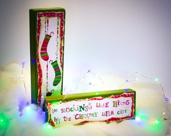 Christmas Wood Block Decorations Stockings Were Hung Mantle Decor bright colorful lime green pink