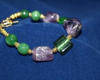 Amethyst and Lampwork Bead Bracelet