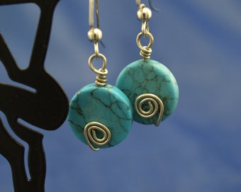 Turquoise Spirals Earrings