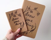 Draw Something Moleskine cahier | Hand-lettered notebook cover with blank pages
