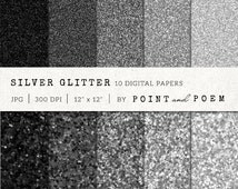 """Glitter digital paper: """"SILVER GLITTER"""" background for scrapbooking , girly, shiny, sparkle, wedding, canvas texture /instant download/"""