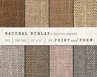 "Burlap Digital Paper ""NEUTRAL BURLAP"" background for scrapbooking, invites, canvas texture - Commercial Use"