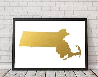 Massachusetts Print, Gold Massachusetts, Massachusetts Illustration, Wall Decor, USA Print, Massachusetts State