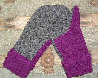 Sweater Mittens ple and GrayPur