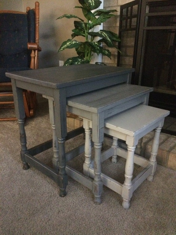 Shabby chic distressed nesting tables