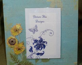 "Light teal with Sunflowers  4""x6"" acrylic photo frame"