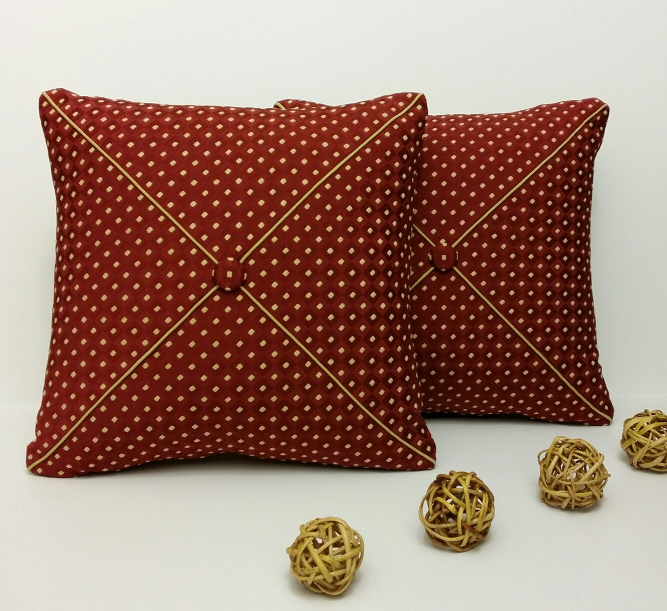 Throw Pillows For Burgundy Couch : Set of 2 Burgundy Throw Pillows Decorative Pillow Accent