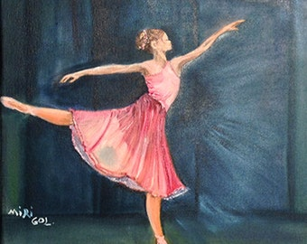BALLET DANCER        beautiful elegant and full of grace  ,ballet dancer with pink dress, .NOW*********** Free Shipping***********