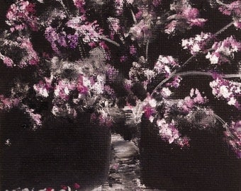 """CHERRY BLOSSOM--- original oil painting mini art from my """" sweets"""" collection gorgeous one of a kind piece of art.Now*****Free Shipping*****"""