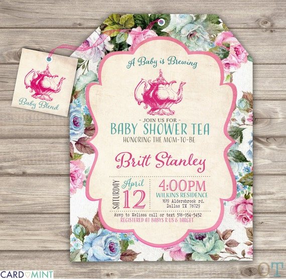 a baby is brewing baby shower teaprintable invitations theme,