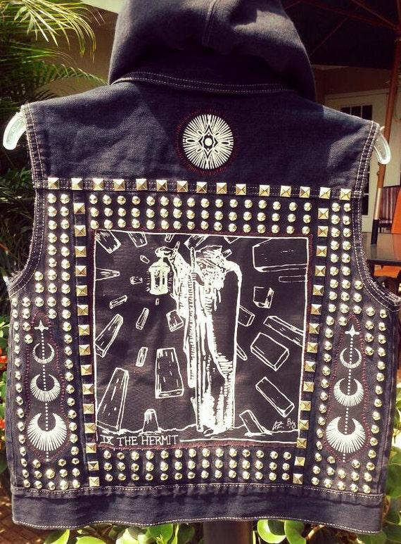Occult Tarot Punk Vest Lone Wolf The Hermit Pentagram Pentacle