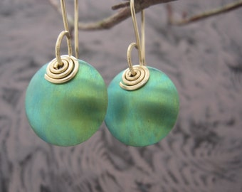 brilliant green Niobium and 14K GF Earrings