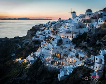 Santorini Greek Island Sunset Photo, Oia, Greece Landscape, Beautiful,Travel Photography, Print, Wall Art, Ocean