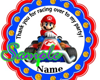 MARIO KART Personalized Stickers, Party Favor Tags, Thank You Tags, Gift Tags, Birthday, Baby Shower