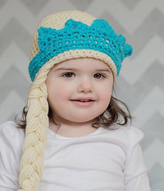 Items similar to Elsa crochet hat with braid and crown on Etsy
