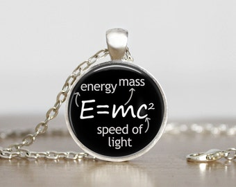 E=mc2, Science pendant, necklace is a soldered cable chain with a lobster clasp or keychain