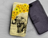 Elephant Sunflowers Wallet case for iPhone 6s Plus, iPhone 6S wallet, Samsung Galaxy S6 edge plus case, Galaxy Note 5 case,Note 5 edge case