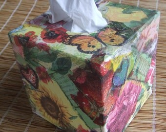 Tissue Box Cover Tropical Colourful Flowers and Butterfly  Hand Decorated Cube