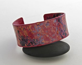 bracelet, cuff, copper, hammer textured and kiln fired for color