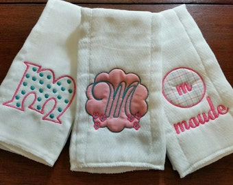 SET of 3 Custom Made Personalized Sweet Baby Girl  Burp Cloths