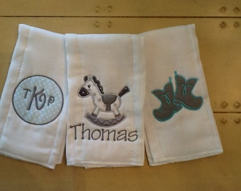 Custom Made Personalized  Baby Boy Burp Cloths ~ Giddy Up Cowboys