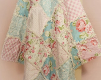 "Rag Quilt, ~ Made to Order ~, Baby Girl Quilt, Shabby Chic, 36"" x 36"" Quilt, Baby Shower Gift, Roses, Pink, Blue, White, Gingham, Damask"