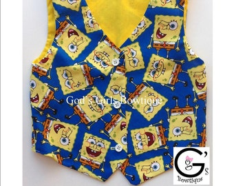 Spongebob Vest Bow Tie Boys baby Toddler Outfit Ring Bearer Wedding Birthday Shirt Top Onesie Tuxedo Vest Smash Outfit