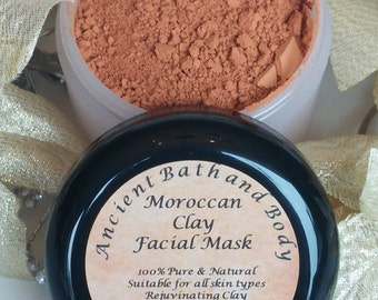 Moroccan Clay Face Mask / All Natural / Chemical Free / Cruelty Free / Vegan