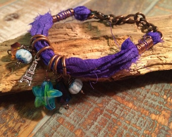 Sari Silk Bracelet with accents of Beads and Charms