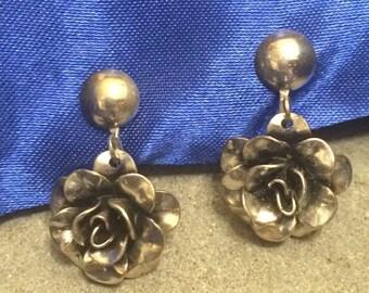 Vintage ART Sterling Rose Earrings