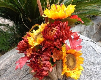 Cemetery flowers in fall mixture - READY TO SHIP