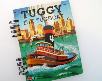 altered book journal - Tuggy The Tugboat - smash book journal - junk journal