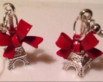 Silver Eiffel Tower Red Bow Earrings Romance France Paris Love