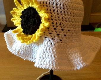 Childs sunhat sunflower hat baby toddler hat sun summer hat